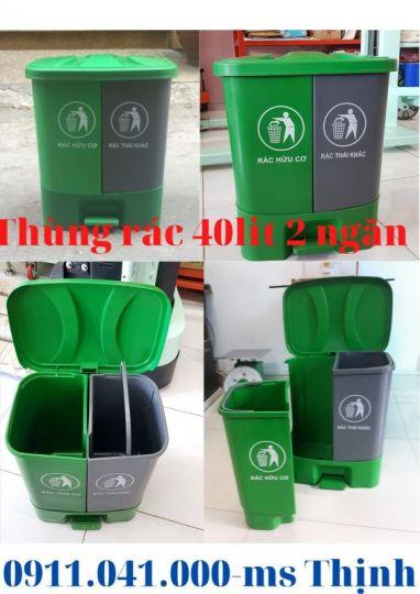 Thùng rác 40lit 2 ngăn dùng gia đình, thùng rác giá rẻ